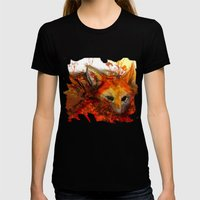 Fox in Sunset III Womens Fitted Tee Black SMALL