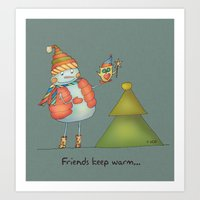 Friends Keep Warm - Grey… Art Print