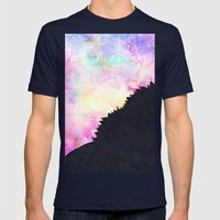 Modern Watercolor Nebula… Mens Fitted Tee Navy SMALL