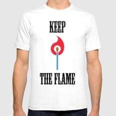 Keep the Flame White SMALL Mens Fitted Tee