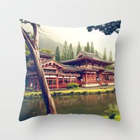 Byodo-In Temple/ Hawaii Throw Pillow