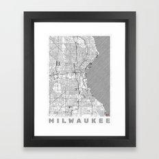 Milwaukee Map Line Framed Art Print