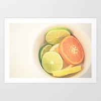 Citrus on White Art Print