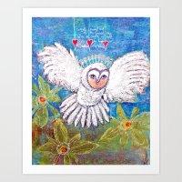 Flying White  Owl Art Print