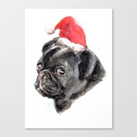 Canvas Print featuring Xmas Pug by Becca Kallem