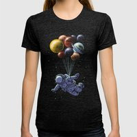 Space Travel Womens Fitted Tee Tri-Black SMALL