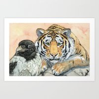Crow and Tiger c031 Art Print