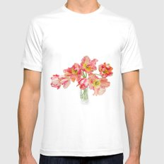 Parrot Tulips in a Glass Vase Mens Fitted Tee White SMALL