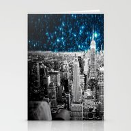 Starry Teal Night Stationery Cards