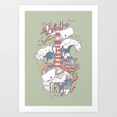 Whales and Waves Art Print