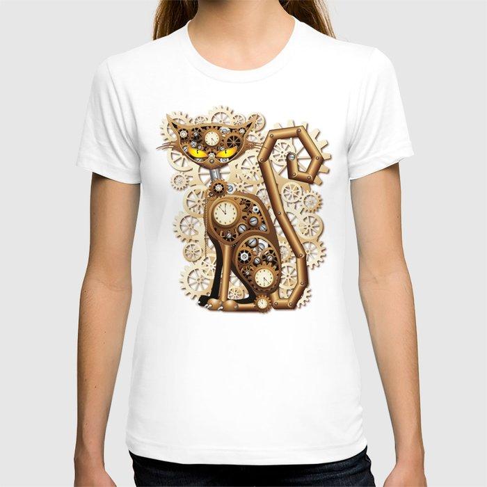 Steampunk Cat Vintage Style T Shirt By Bluedarkart Society6