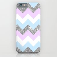 purple & teal glitter chevron iPhone 6 Slim Case