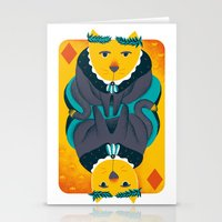 Cat the King of Diamonds Stationery Cards