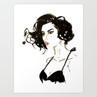 'Curl' Watercolour illustration Art Print