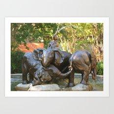 Baby Elephant Fountain Art Print
