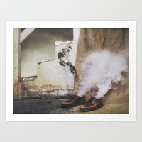 Two Shoes and a Plant  Art Print