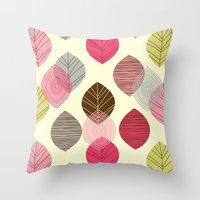 Linear leaves Throw Pillow