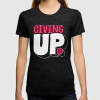 Growing Up Means Giving … Womens Fitted Tee Tri-Black SMALL