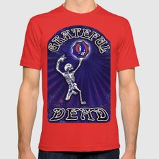 Grateful Dead Dancing Skeleton Beautiful Elegant Optical Illusion Design Mens Fitted Tee Red SMALL