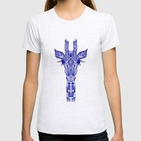 GIRAFFE BLUE Womens Fitted Tee Ash Grey SMALL