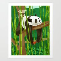Panda Enjoys Coffee Art Print
