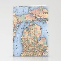 Michigan Railroad Map Stationery Cards