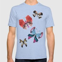 Floating Butterflies Mens Fitted Tee Tri-Blue SMALL