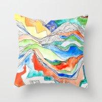 Technicolor Mountains Throw Pillow