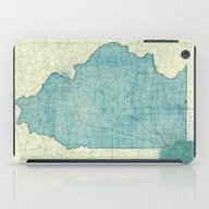 Illinois Map Blue Vintag… iPad Case