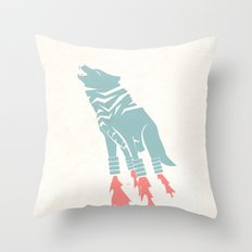 Robot Wolf-Tiger from Outer Space Throw Pillow