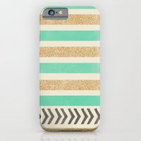 MINT AND GOLD STRIPES AND ARROWS iPhone 6 Slim Case