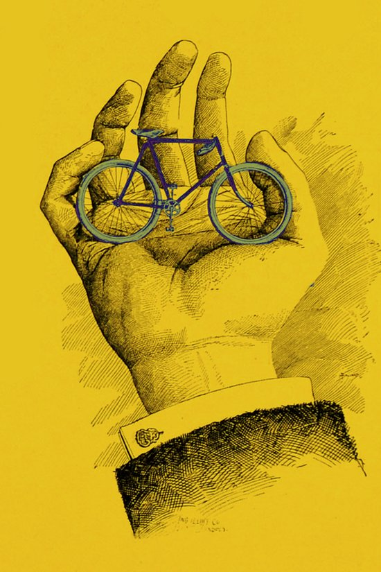 Vintage Outing Bicycle in the Palm of His Hand Art Print