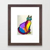 Colorful Cat Hero Framed Art Print