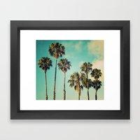 Palms Blue Framed Art Print