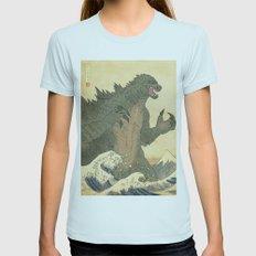 Godzilla Ukiyo-e  Womens Fitted Tee Light Blue SMALL
