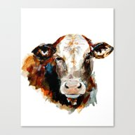 Cow Watercolor Canvas Print