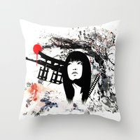 Japanese Geisha Warrior Throw Pillow