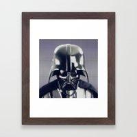 Darth Vader Helmet Pixel Framed Art Print