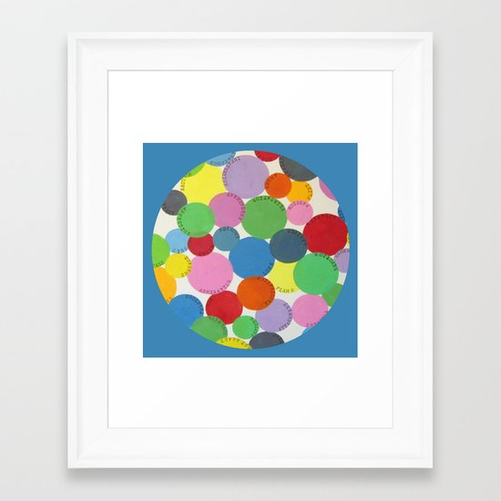 Word Bubbles Blue Framed Art Print