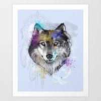 Sasha's Wolf Blue Art Print
