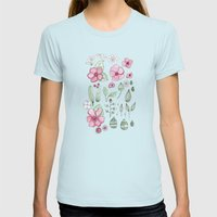 Watercolor Flower Womens Fitted Tee Light Blue SMALL