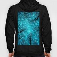 Black Trees Teal Space Hoody
