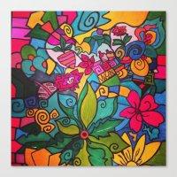 Flower Doodles Canvas Print