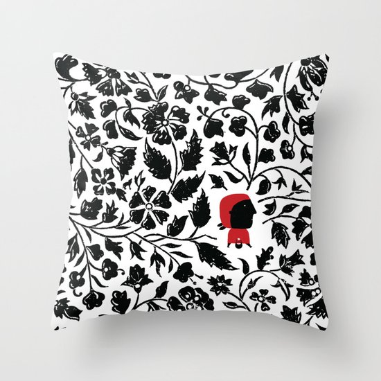 Little Red forest Throw Pillow