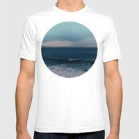 Blue California Ocean Mens Fitted Tee White SMALL