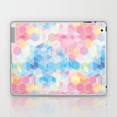 Hive: pink and blue hexagon pattern Laptop & iPad Skin