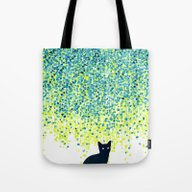 Cat In The Garden Under … Tote Bag