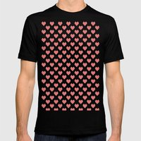 Pixel Hearts Mens Fitted Tee Black SMALL