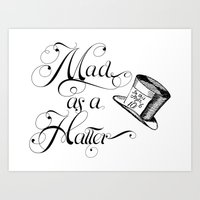 Alice in Wonderland Mad As A Hatter Art Print
