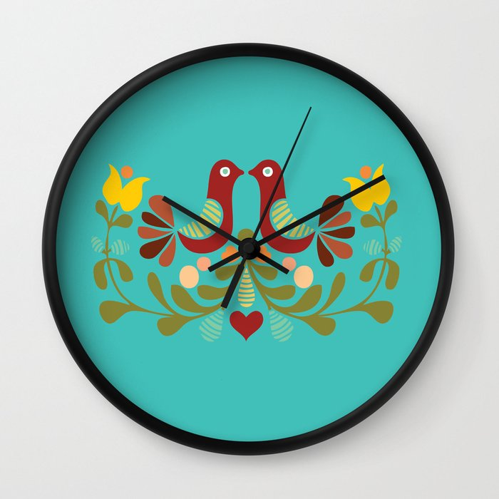 Wall Clock Art Design : Vector folk art design wall clock by pizza party society